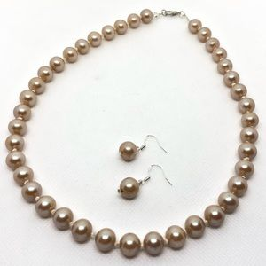 Vintage Glass Pearl Necklace & Earrings Set
